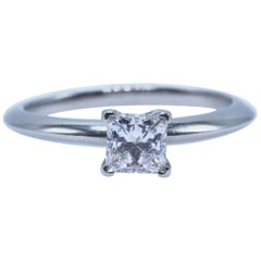 Tiffany & Co. Princess Cut 0.53 Carat F VVS1 Diamond and Platinum Ring