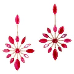 Fun Everyday 18 Karat Diamond and Ruby Earring