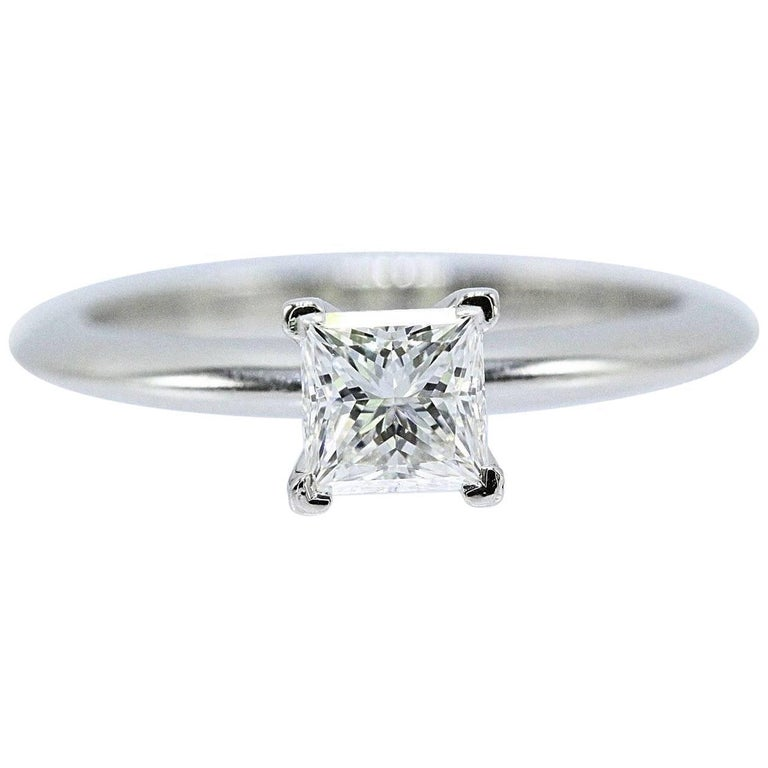 Tiffany & Co. Princess Cut 0.53 Cts E VS1 Diamond and Platinum Engagement Ring