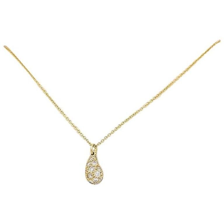 Tiffany & Co. Elsa Peretti Diamond Teardrop Necklace 18 Karat Yellow Gold