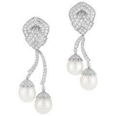 18 Karat White Gold Hanging Diamond and South Sea Pearl Earrings