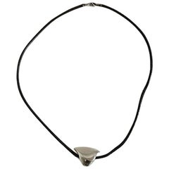 Hans Hansen Leather Necklace with Sterling Silver Pendant Shaped as a Dove/Bird