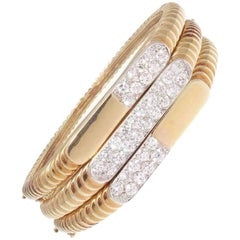 Vintage Diamond Gold Bangle Bracelets