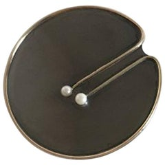 Hans Hansen Brooch in Oxidized Sterling Silver with Pearl and Gilded Rim
