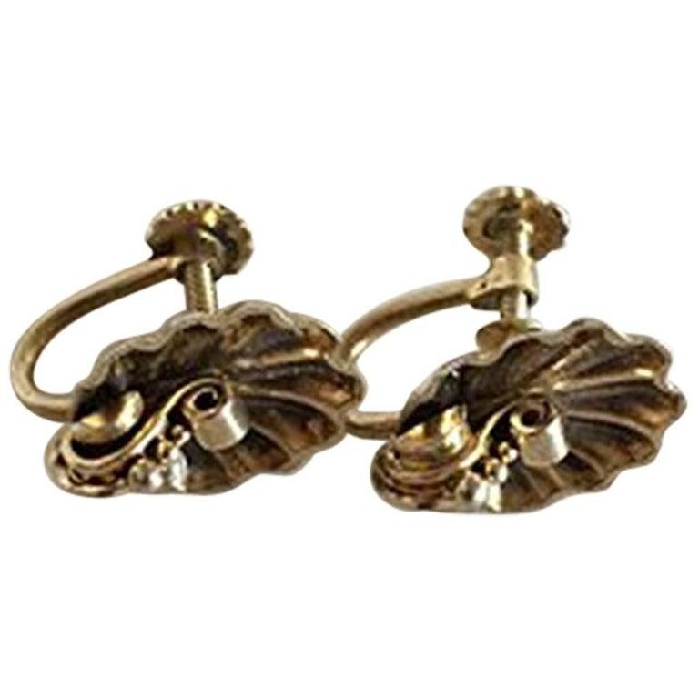 Hans Hansen Earrings in Gilded Sterling Silver