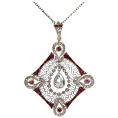 Antique Edwardian Platinum 2.7 Carat Diamond 'GIA Certified' and Ruby Pendant