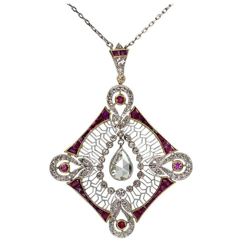 Antique Edwardian Platinum 2.7 Carat Diamond 'GIA Certified' and Ruby Pendant