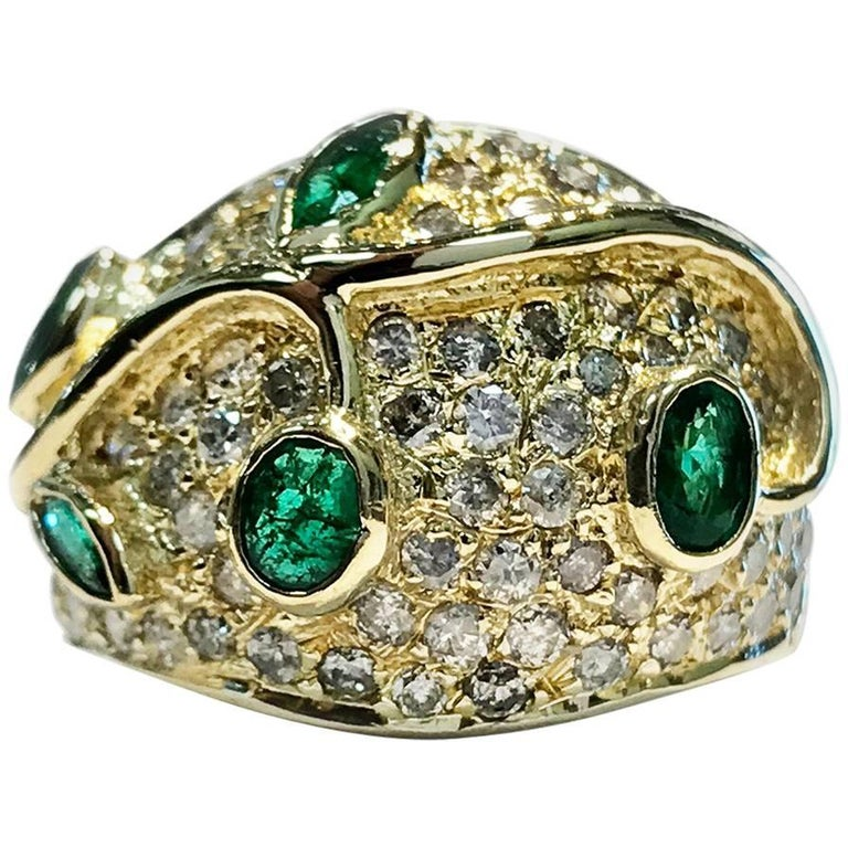 Vintage Emerald and Diamond Gold Cocktail Ring For Sale