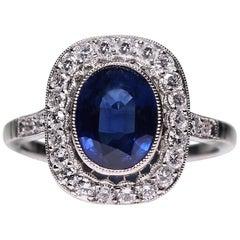 Modern Art Deco Style Platinum 1.4 Carat Sapphire and Diamond Ring