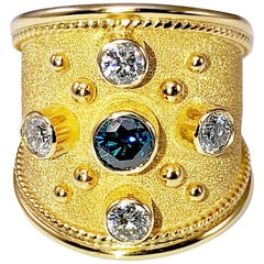Georgios Collections 18 Karat Yellow Gold Byzantine Style Ring with Blue Diamond