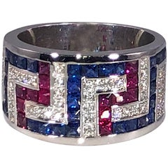 Georgios Collections 18 Karat White Gold Greek Key Sapphire Ruby Diamond Ring