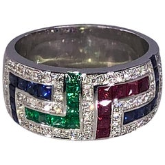 Georgios Collections 18 Karat White Gold Diamond Greek Key Multi Color Ring