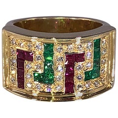 Georgios Collections 18 Karat Yellow Gold Greek Key Diamond Ruby Emerald Ring