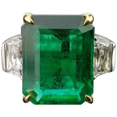 8.01 Carat Emerald and Diamond Three-Stone Cocktail Ring