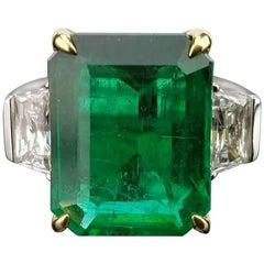 8.01 Carat Emerald and Diamond Three-Stone Cocktail Ring