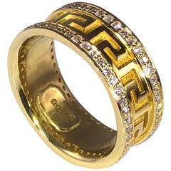18 Karat Yellow Gold Diamond Eternity Band with Greek Key