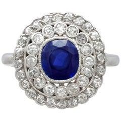 Antique 1.90 Carat Sapphire 1.10 Carat Diamond White Gold Cluster Ring