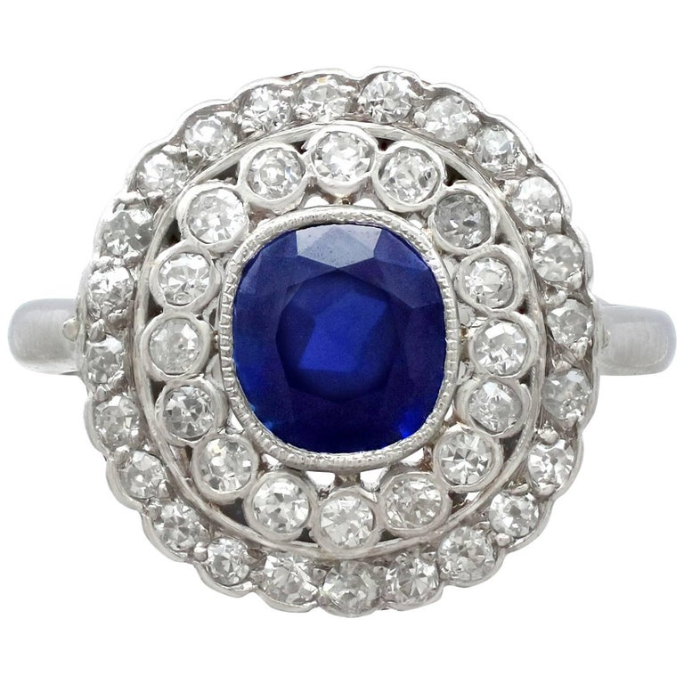 Antique 1.90 Carat Sapphire 1.10 Carat Diamond White Gold Cluster Ring