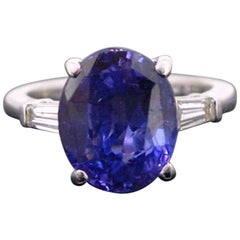 Color Change Sapphire and Tappers Diamonds White Gold Band Ring