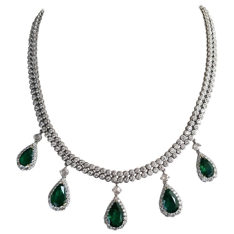 16.74 Carat Pear Shape Emerald and Diamond Necklace