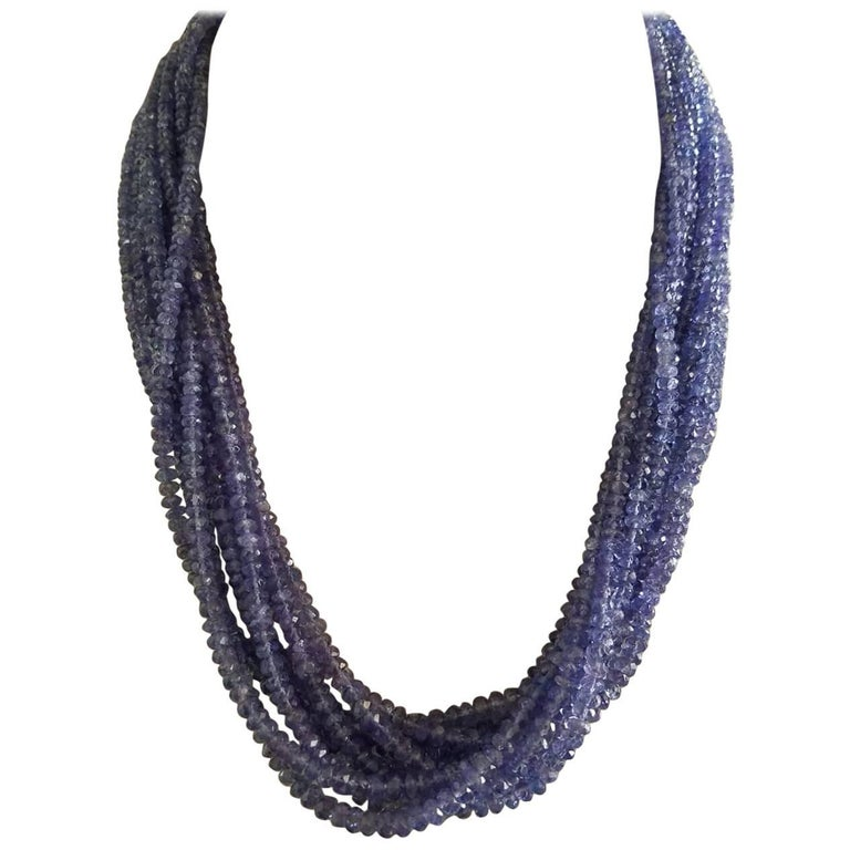 Faceted Tanzanite Beads Multi-Strand Necklace
