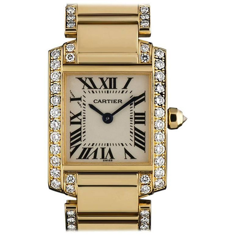 Cartier Ladies Yellow Gold Diamond Tank Francaise Roman Dial Quartz Wristwatch