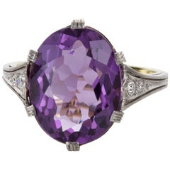 Platinum and 14 Karat Yellow Gold Amethyst and Diamond Dress Ring