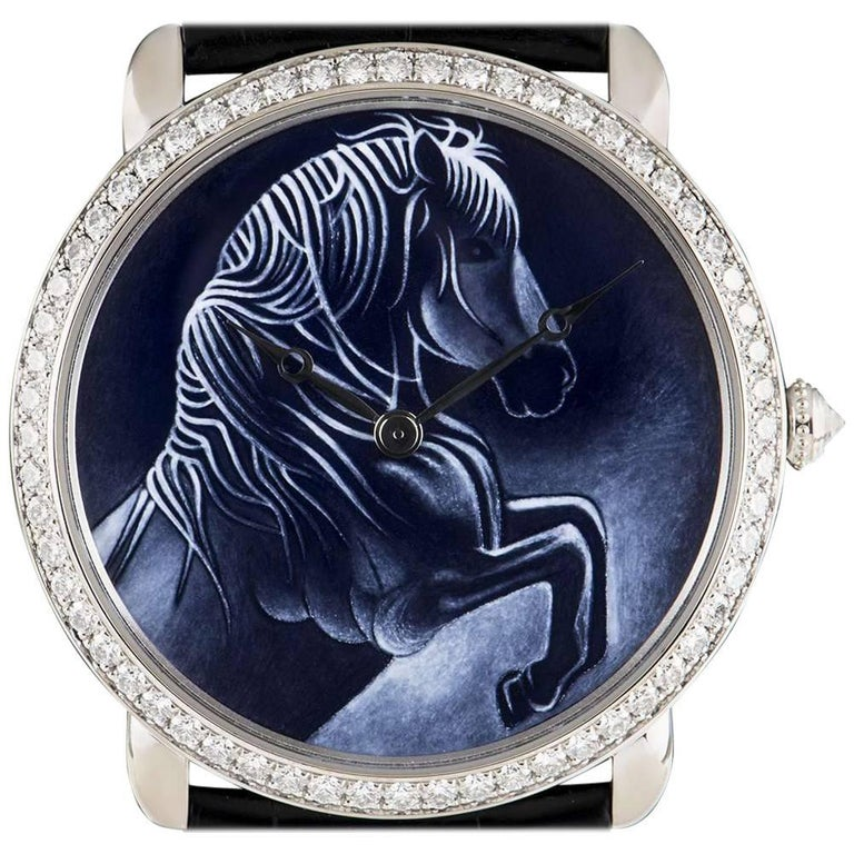Cartier White Gold Ronde Louise XL Year Of The Horse Manual Wristwatch For Sale
