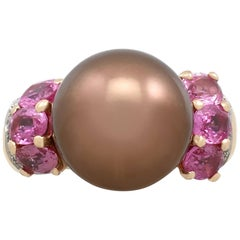 Pearl and 2.95 Carat Pink Sapphire, Diamond and Yellow Gold Dress Ring