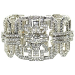 1930s Art Deco Platinum and Diamond French Bracelet, 17 Carat of Diamonds