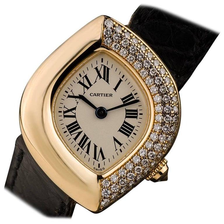 Cartier Diamond Set Navette Montre Ladies Wristwatch Quartz Watch