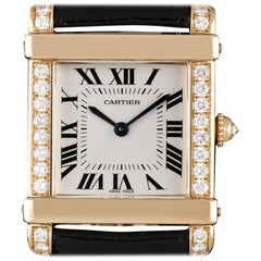 Cartier Tank Chinoise Ladies Rose Gold Silver Roman Dial Quartz Wristwatch
