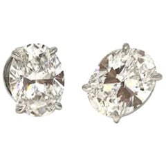 GIA Certified 2 Carat Oversize Oval Shaped Diamond Earrings