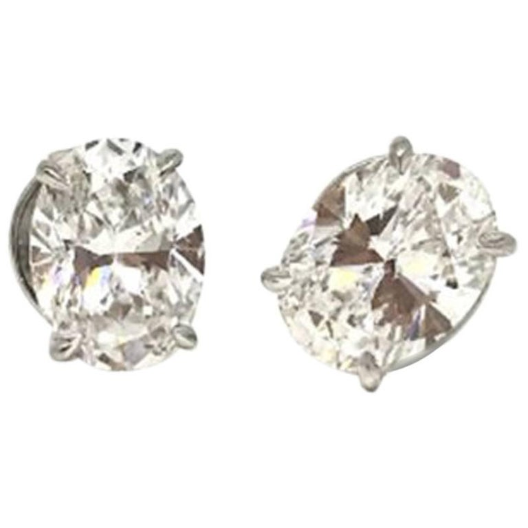 Gia Certified 2 Carat Oversize Oval Shaped Diamond Earrings For