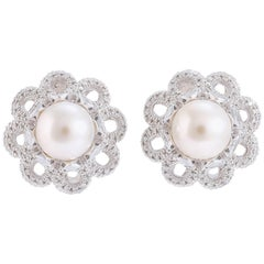 Diamonds Pearl White Gold Earrings