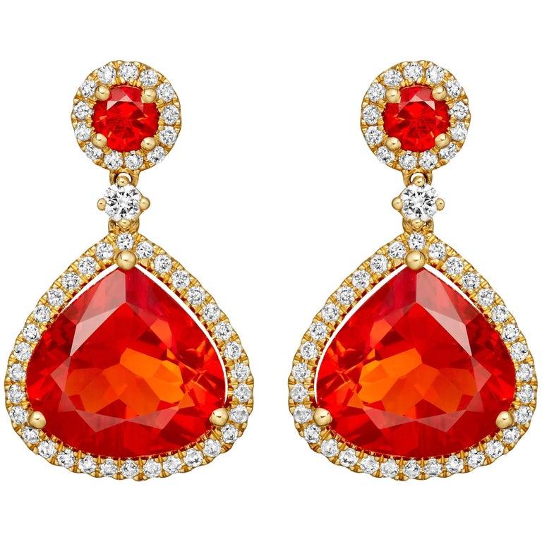 Kiki McDonough 18 Carat Yellow Gold Fire Opal and Diamond Drop Earrings