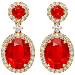 Kiki McDonough 18 Carat Yellow Gold Fire Opal Round and Oval Drop Earrings