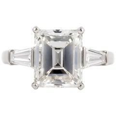 Bvlgari GIA Certified 4.20 Carat Emerald Cut Diamond Ring