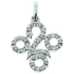 White Diamond Pendant in 18 Karat White Gold