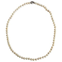 Georg Jensen Pearl Necklace with Lock and White Gold