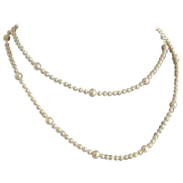 Georg Jensen Collier with White Freshwater Cultured Pearls and Gold Lock