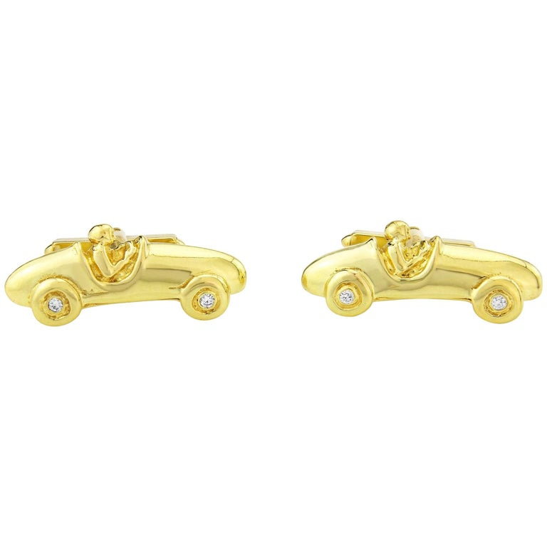 Bugatti Racing Car Cufflinks in solid 18k gold with 4 Diamonds For Sale