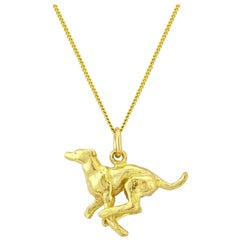 Greyhound Pendant/Necklace in Solid 9 Karat Gold