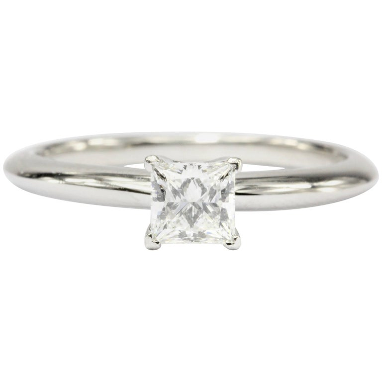 Tiffany & Co. Platinum and Princes Cut Diamond Solitaire Engagement Ring