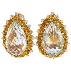 Diamonds Amethyst Topaz Rose Gold Earrings