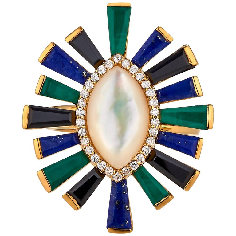 Luminous Large Ring in Lapis, Malachite, Mother-of-Pearl, Onyx and Diamonds