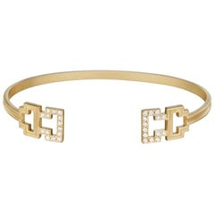 Doryn Wallach Greek Key Diamond Cuff Bracelet