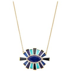 Lapis, Kyanite, Onyx, Turquoise and Diamond Halo Luminous Necklace 18 Karat Gold