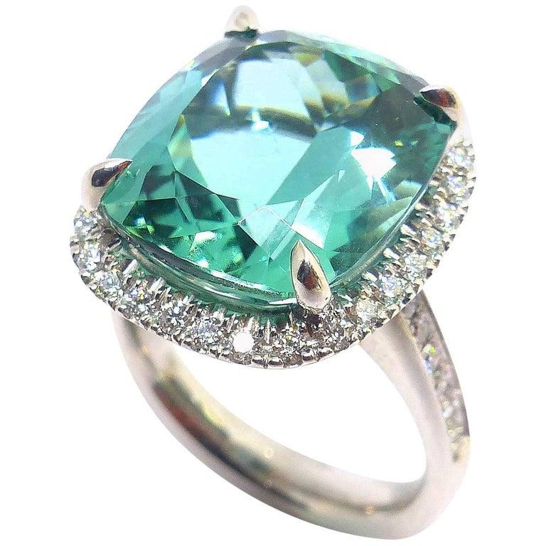 Fine Tourmaline and Diamond 18 Karat White Gold Ring