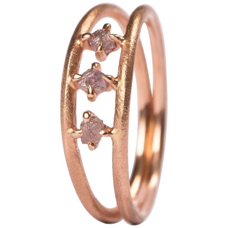 0.21 Carat Rough Light Pink Diamonds Double Rose Gold Ring